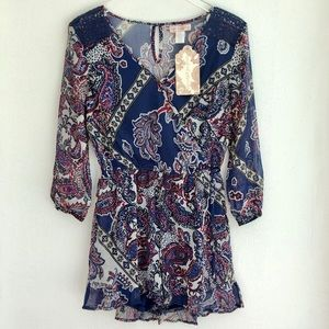 Band of Gypsies Paisley V- Neck Romper Small NWT